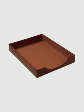 Simile leather desk tray
