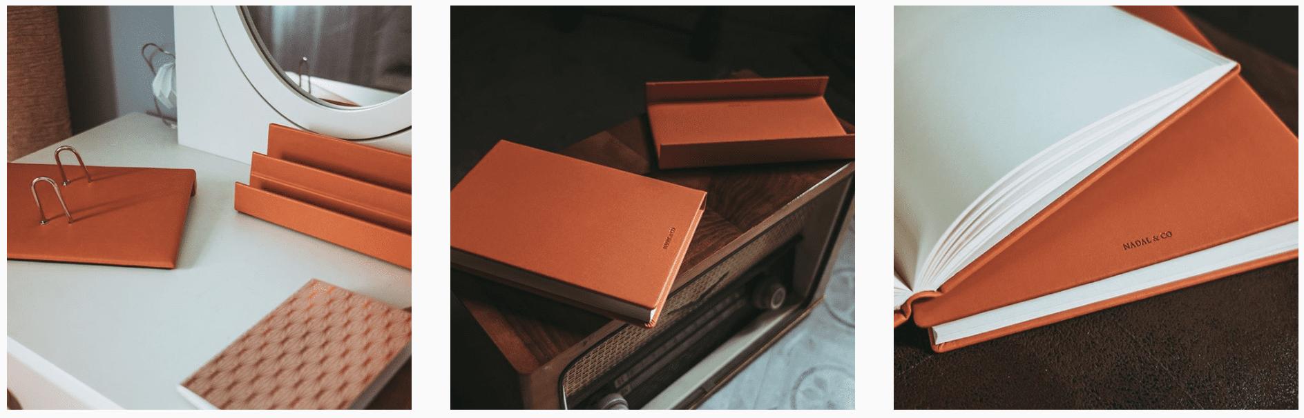 Material de oficina hecho en piel para escritorios elegantes. Accesorios para despachos personalizados.
