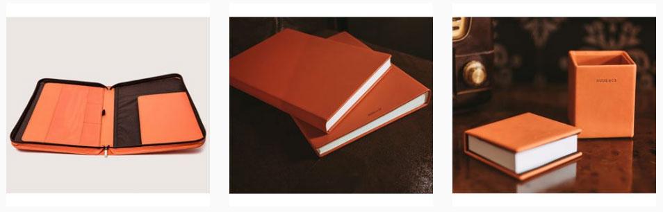 Portafolios de piel en color naranja
